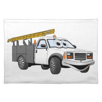 Utility Pick Up Truck Grey White Cartoon Place Mats