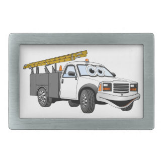 Utility Pick Up Truck Grey White Cartoon Rectangular Belt Buckle