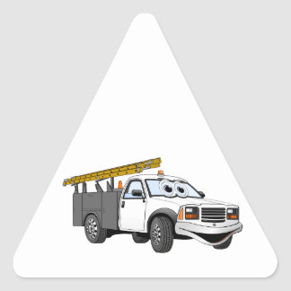 Utility Pick Up Truck Grey White Cartoon Triangle Sticker