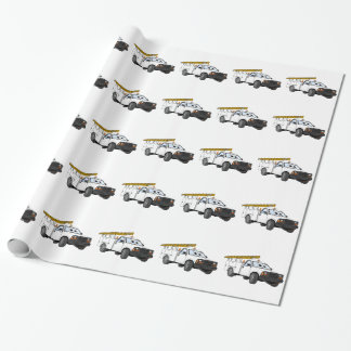 Utility Pick Up White Cartoon Wrapping Paper
