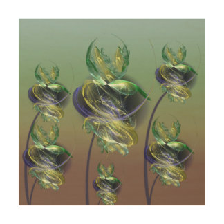 Utopian Alien Flowers Wood Wall Art