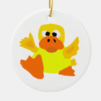UU- Funny Duck Bigfoot Art Cartoon Ceramic Ornament