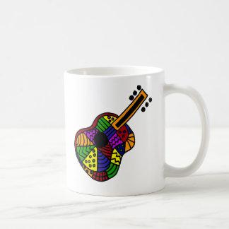 UV- Colorful Folk Art Guitar Design Basic White Mug