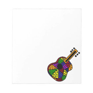 UV- Colorful Folk Art Guitar Design Notepad