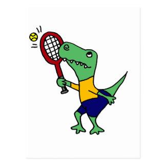 UV- Funny T-Rex Dinosaur Playing Tennis Cartoon Postcard