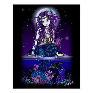 """Uxia"" Midnight Mermaid Poster"