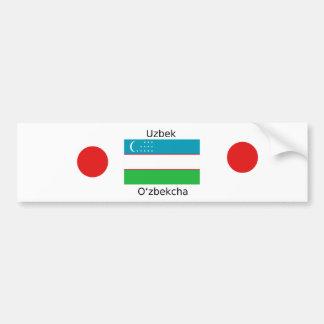 Uzbek Language And Uzbekistan Flag Design Bumper Sticker