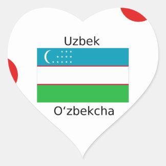 Uzbek Language And Uzbekistan Flag Design Heart Sticker
