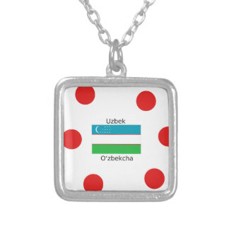 Uzbek Language And Uzbekistan Flag Design Silver Plated Necklace