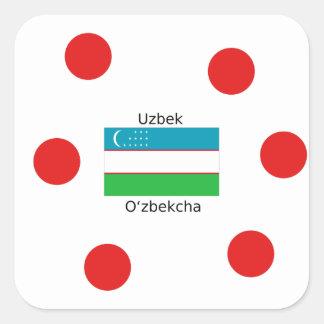 Uzbek Language And Uzbekistan Flag Design Square Sticker