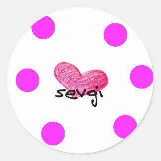 Uzbek Language of Love Design Classic Round Sticker