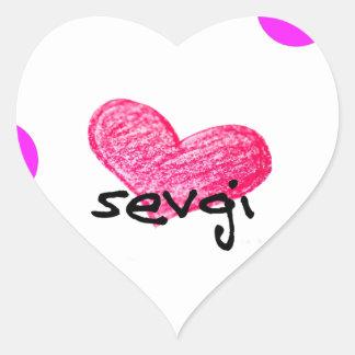Uzbek Language of Love Design Heart Sticker