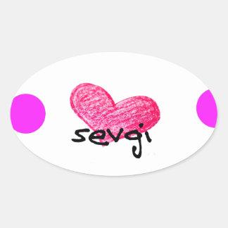 Uzbek Language of Love Design Oval Sticker