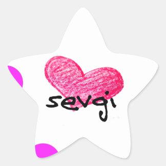 Uzbek Language of Love Design Star Sticker