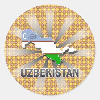 Uzbekistan Flag Map 2.0 Classic Round Sticker