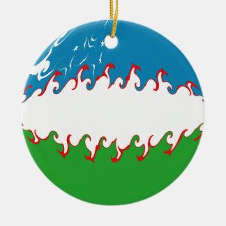 Uzbekistan Gnarly Flag Christmas Ornament
