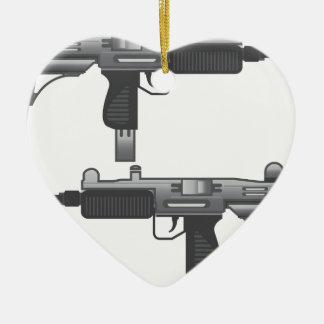 Uzi Gun vector Ceramic Heart Decoration