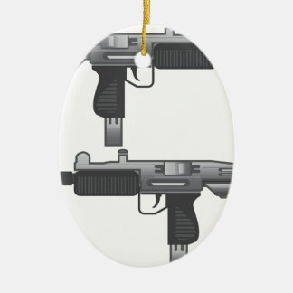 Uzi Gun vector Ceramic Oval Decoration