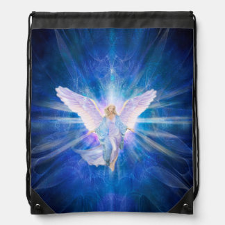 V009-Angel 5 Blue Drawstring Bag