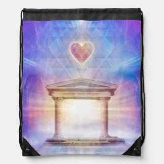 V014- Know Thy Heart Magenta Drawstring Bag