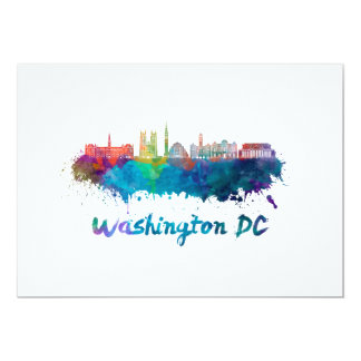 V2 Washington DC skyline in watercolor Card