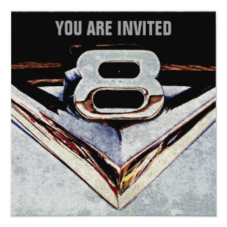 V8 Chrome Black and Grey Masculine Party Card