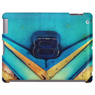 V8 Emblem Blue Grunge Artsy Style
