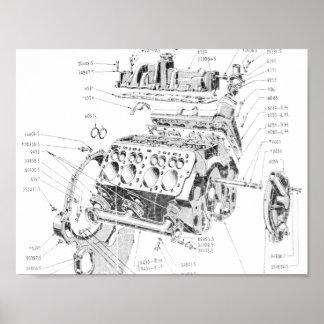 V8 engine poster