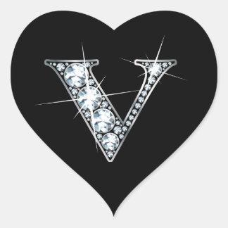 """""""V"""" Diamond Bling on Black Heart Sticker"""