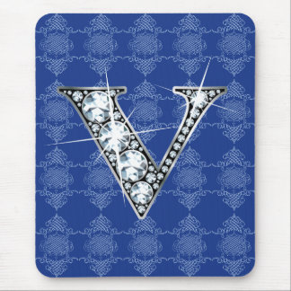 """V"" Diamond Bling with Knotted Damask Mousepad"