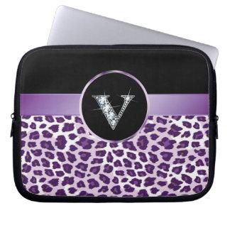 "V ""Diamond"" Purple Leopard & Ribbon Electronics Ba Laptop Sleeve"