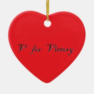 v for victory ceramic heart decoration