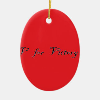 v for victory ceramic oval decoration
