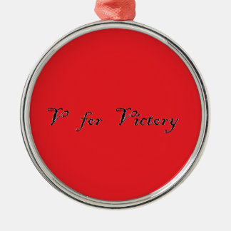 v for victory Silver-Colored round decoration