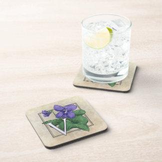 V for Violet Floral Monogram Coaster