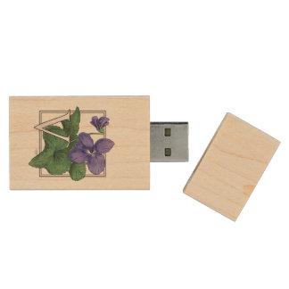 V for Violet Floral Monogram Wood USB 2.0 Flash Drive