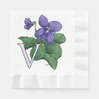 V for Violet Floral Monogram Paper Serviettes