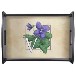 V for Violet Floral Monogram Service Trays