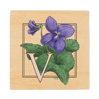 V for Violet Floral Monogram Wood Coaster