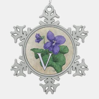 V for Violets Flower Monogram Artwork Snowflake Pewter Christmas Ornament