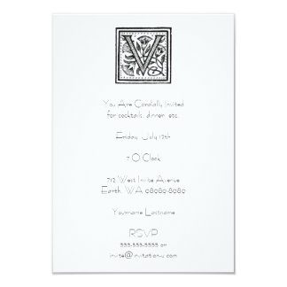 V Initial from A Monk of Fife 9 Cm X 13 Cm Invitation Card