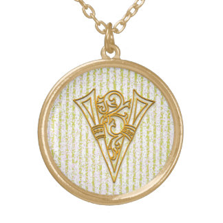 "V Initial Monogram ""Gold Pin Stripe"" Necklace"