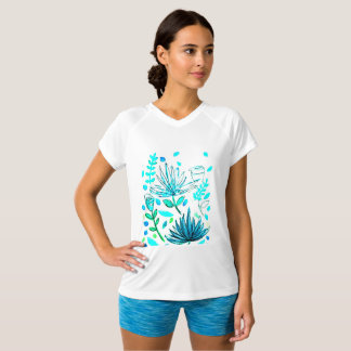 V-neck, t-shirt with floral motif on front.
