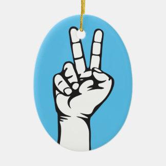 V-sign hand ceramic ornament
