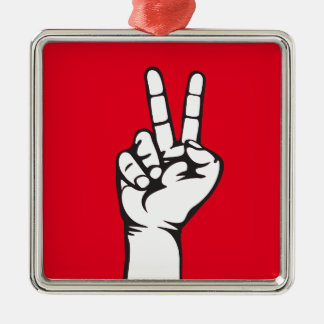 V-sign hand Silver-Colored square decoration