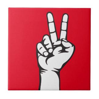 V-sign hand tile