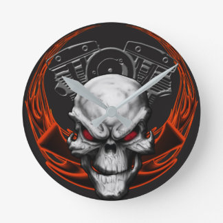 V Twin, Skull & Flames Clock