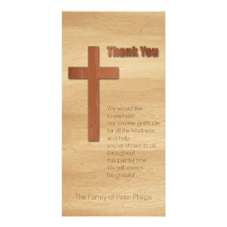 V Wooden Cross Christian Sympathy Thank You Card Photo Cards