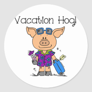 Vacation Hog Classic Round Sticker
