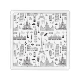 Vacation In Europe Pattern Acrylic Tray